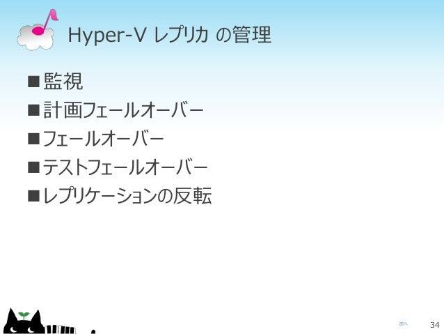 次へ Hyper-V レプリカ の管理 監視 計画フェールオーバー フェールオーバー テストフェールオーバー レプリケーションの反転 34