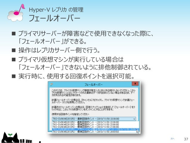 次へ Hyper-V レプリカ の管理 フェールオーバー  プライマリサーバーが障害などで使用できなくなった際に、 「フェールオーバー」ができる。  操作はレプリカサーバー側で行う。  プライマリ仮想マシンが実行している場合は 「フェール...