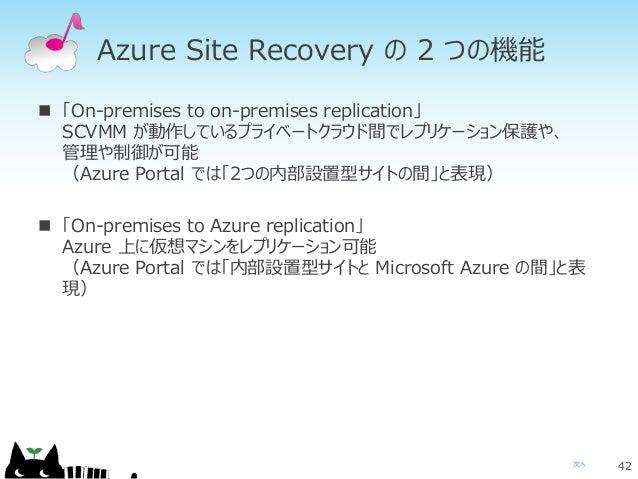 次へ Azure Site Recovery の 2 つの機能  「On-premises to on-premises replication」 SCVMM が動作しているプライベートクラウド間でレプリケーション保護や、 管理や制御が可能 ...