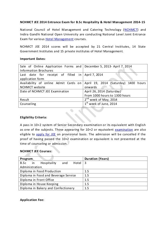 Management… sc For Hotel B 2014 amp; Nchmct Exam Jee Entrance Hospitality