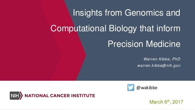 Insights from Genomics and Computational Biology that inform Precision Medicine Warren Kibbe, PhD warren.kibbe@nih.gov @wa...