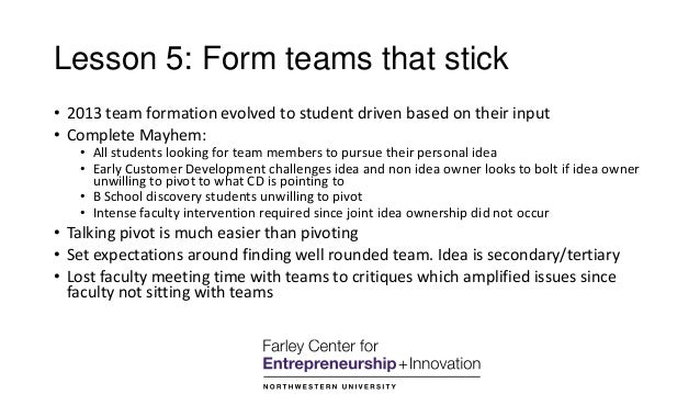 Lesson 5: Form teams that stick • 2013 team formation evolved to student driven based on their input • Complete Mayhem: • ...