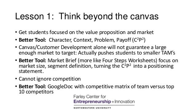 Lesson 1: Think beyond the canvas • Get students focused on the value proposition and market • Better Tool: Character, Con...