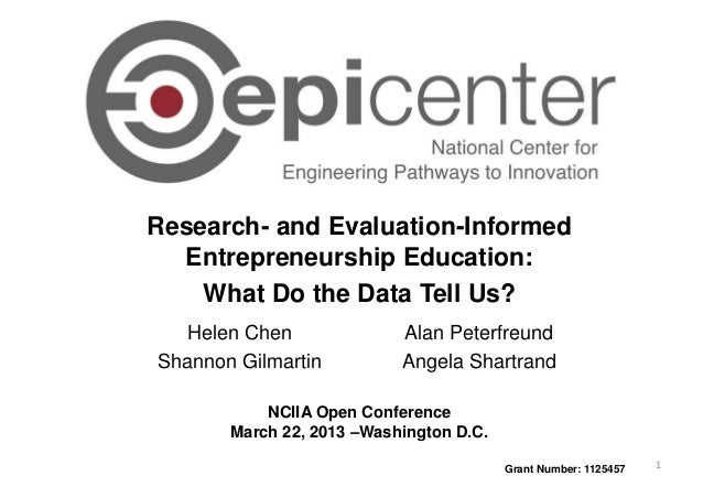 Research- and Evaluation-Informed Entrepreneurship Education: What Do the Data Tell Us? NCIIA Open Conference March 22, 20...