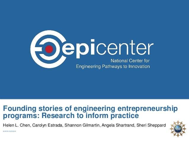 Founding stories of engineering entrepreneurship programs: Research to inform practice Helen L. Chen, Carolyn Estrada, Sha...