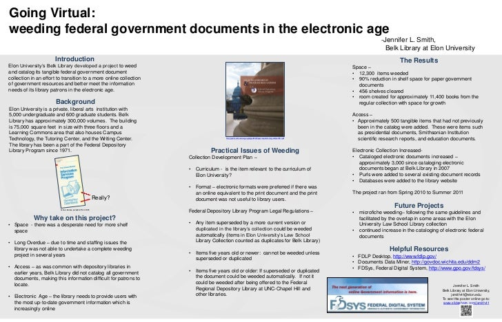 Going Virtual:weeding federal government documents in the electronic age                                                  ...