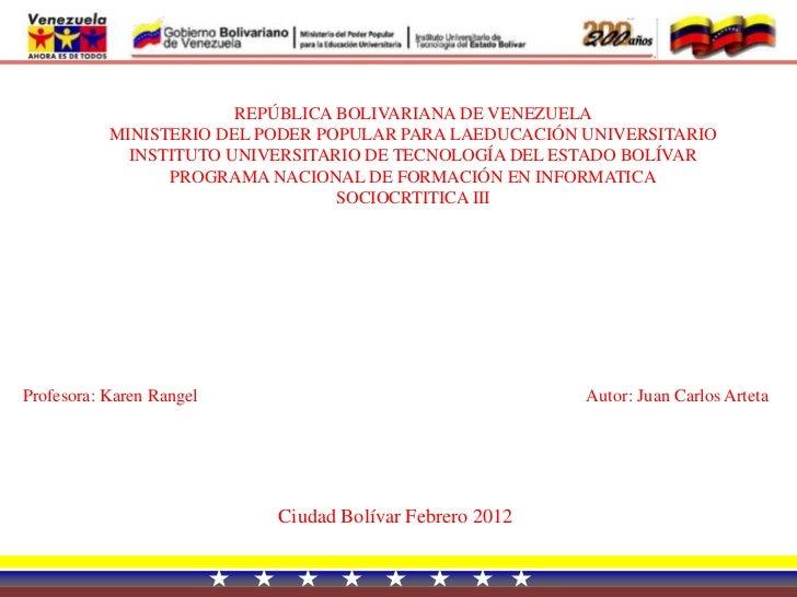 REPÚBLICA BOLIVARIANA DE VENEZUELA           MINISTERIO DEL PODER POPULAR PARA LAEDUCACIÓN UNIVERSITARIO             INSTI...
