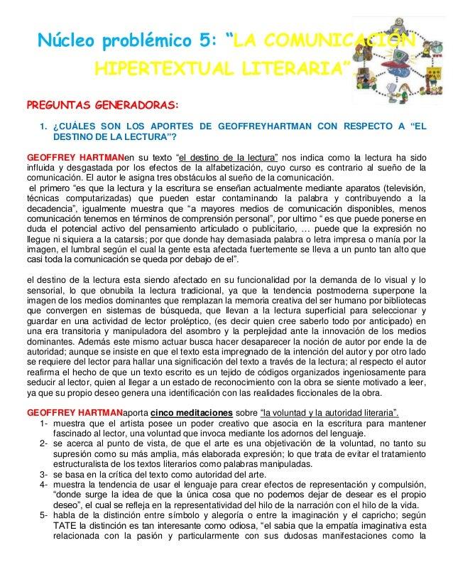 """Núcleo problémico 5: """"LA COMUNICACIÓNHIPERTEXTUAL LITERARIA"""".PREGUNTAS GENERADORAS:1. ¿CUÁLES SON LOS APORTES DE GEOFFREYH..."""