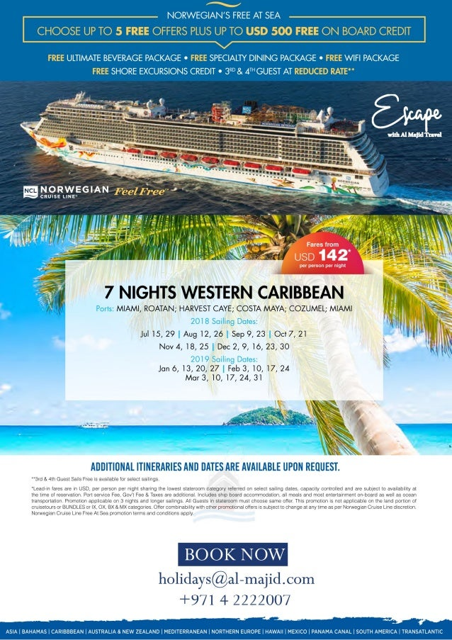 Ncl free at sea caribbean cruises