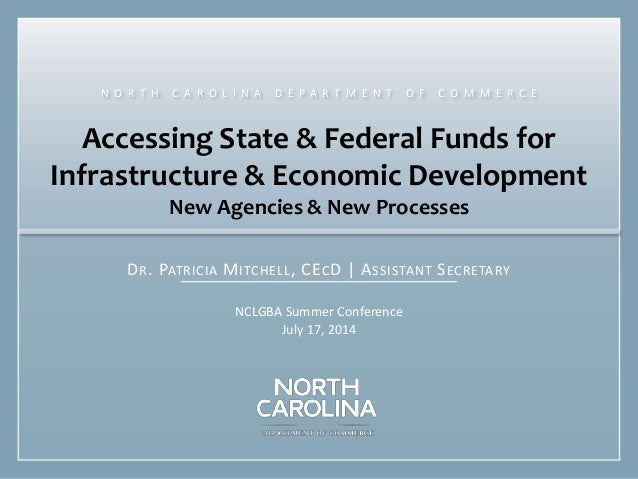 Accessing State & Federal Funds for Infrastructure & Economic Development New Agencies & New Processes DR. PATRICIA MITCHE...
