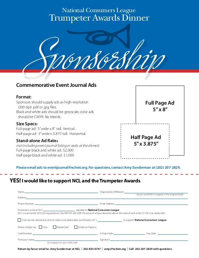 Ncl Trumpeter Awards: Sponsorship Form