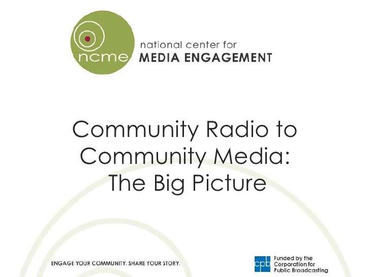 Community Radio toCommunity Media:  The Big Picture