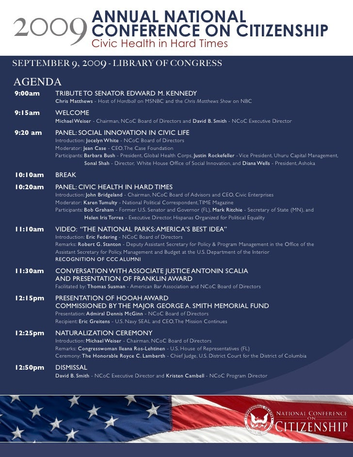 2009                     ANNUAL NATIONAL                          CONFERENCE ON CITIZENSHIP                          Civic...