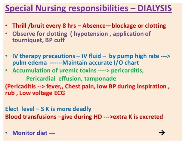 Nursing Care of Patient on Dialysis