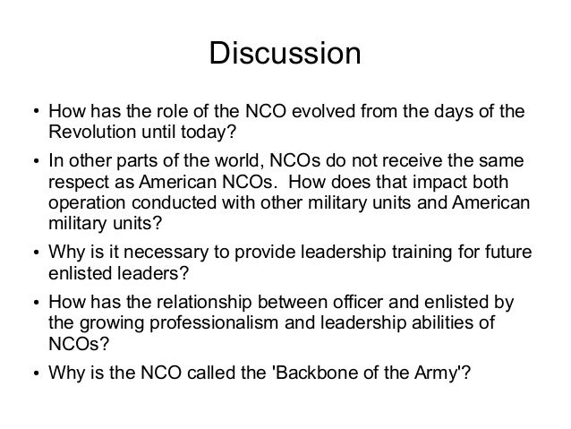 respect for ncos in the army Older than any individual group, organization, religion, civilization, culture or military, respect is almost as old, if not as old, as the human race.