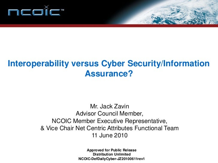 Interoperability versus Cyber Security/Information                     Assurance?                             Mr. Jack Zav...