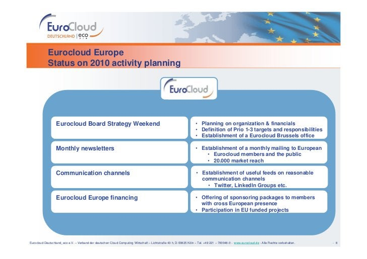 Eurocloud Europe             Status on 2010 activity planning                       Eurocloud Board Strategy Weekend      ...
