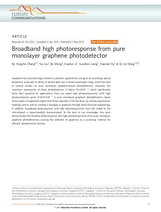 ARTICLE Received 23 Oct 2012 | Accepted 4 Apr 2013 | Published 7 May 2013  DOI: 10.1038/ncomms2830  Broadband high photore...
