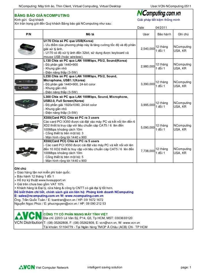 NComputing: Máy tính ảo, Thin Client, Virtual Computing, Virtual Desktop                      User.VCN-NComputing.0511BẢNG...
