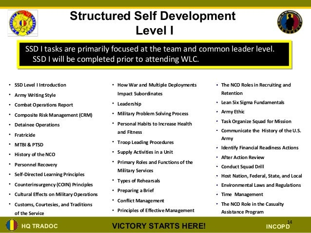 nco structured self development brief ppt rh slideshare net Army Structured Self-Development Certificate Structured Self-Development Level 1 Certificate