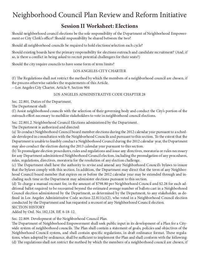 Neighborhood Council Plan Review and Reform Initiative                                Session II Worksheet: ElectionsShoul...
