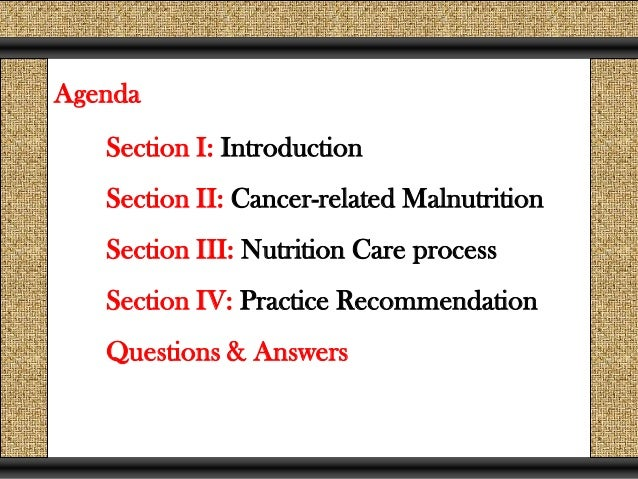 Nutrition Care process for Oncology Patients
