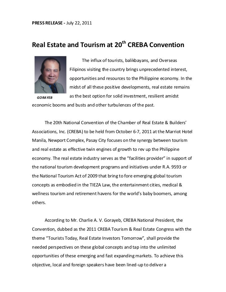 PRESS RELEASE - July 22, 2011Real Estate and Tourism at 20th CREBA Convention                         The influx of touris...