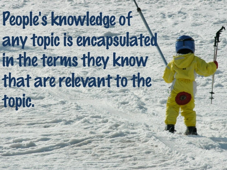 Peoples knowledge ofany topic is encapsulatedin the terms they knowthat are relevant to thetopic.