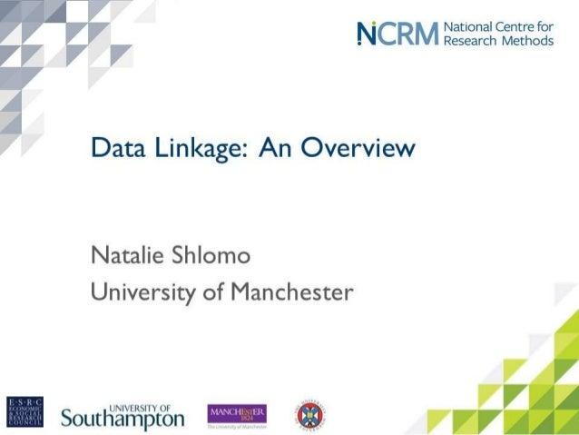 January 2017 Data Linkage: An Overview Natalie Shlomo – University of Manchester 1