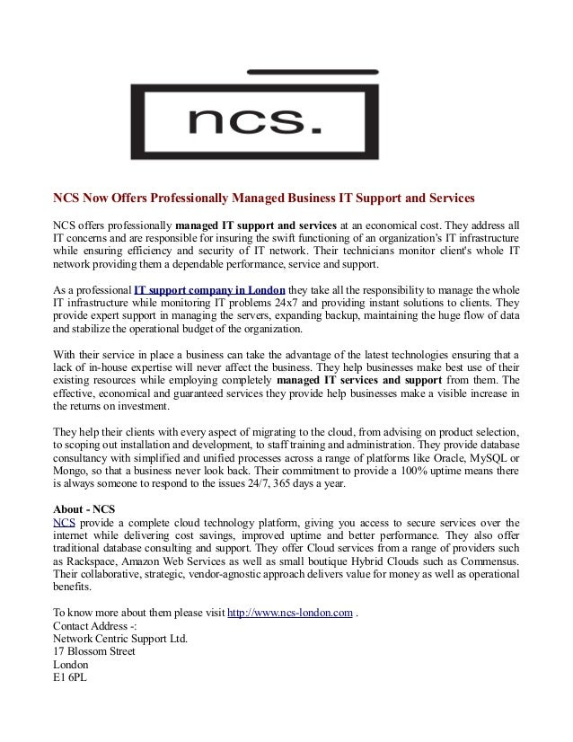 NCS Now Offers Professionally Managed Business IT Support and Services NCS offers professionally managed IT support and se...
