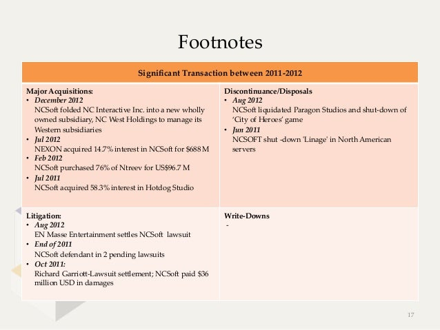 Footnotes                                      Significant Transaction between 2011-‐‑2012Major Acquisitions:      ...