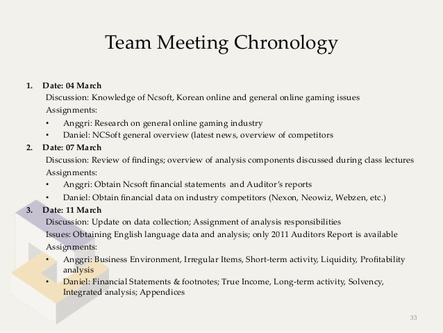 Team Meeting Chronology1.   Date: 04 March      Discussion: Knowledge of Ncsoft, Korean online and general ...