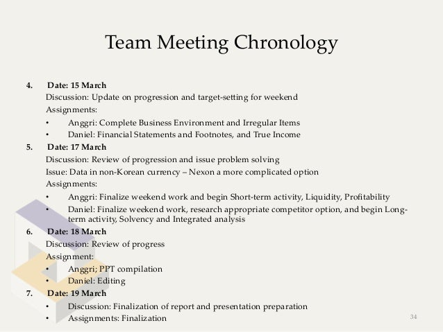 Team Meeting Chronology4.    Date: 15 March      Discussion: Update on progression and target-‐‑seeing for ...
