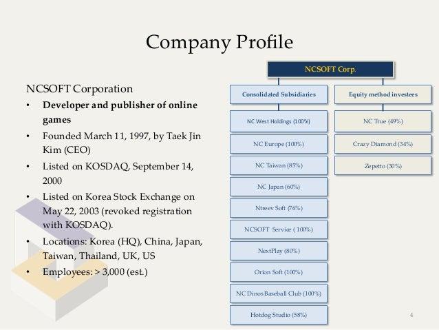 Company Profile                                                                                       NCSOFT Corp.NCSOF...
