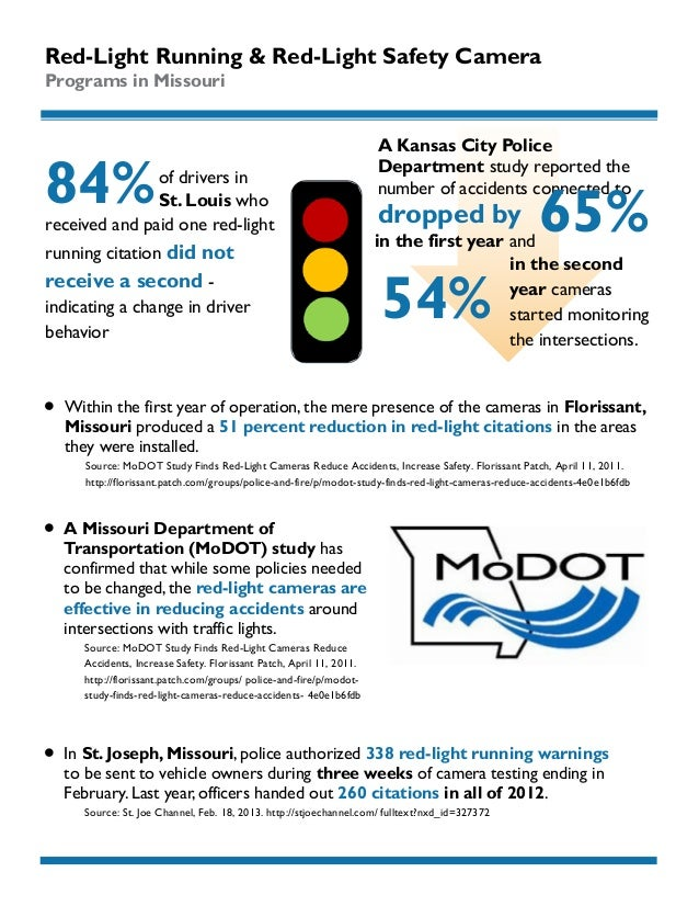 Red-Light Running & Red-Light Safety Camera Programs in Missouri  84%  of drivers in St. Louis who received and paid one r...