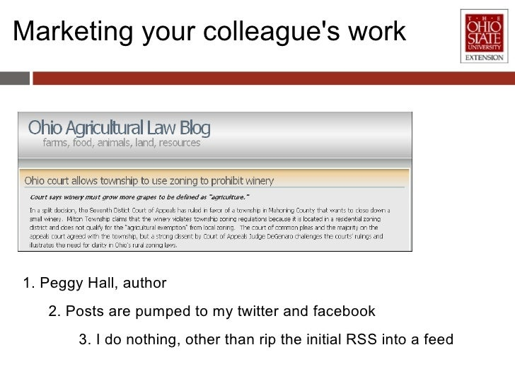 Marketing your colleague's work 1. Peggy Hall, author 2. Posts are pumped to my twitter and facebook 3. I do nothing, othe...