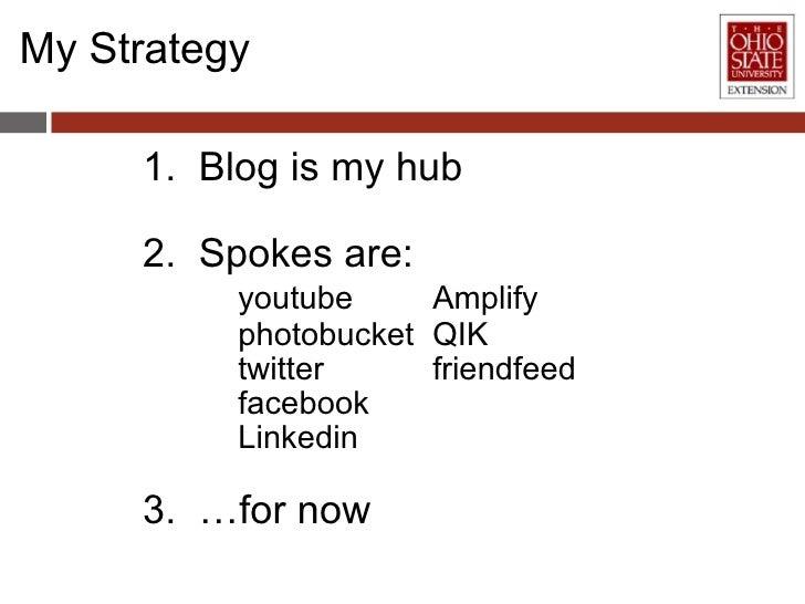 My Strategy <ul><li>1.  Blog is my hub </li></ul><ul><li>2.  Spokes are: </li></ul><ul><li>youtube Amplify </li></ul><ul><...
