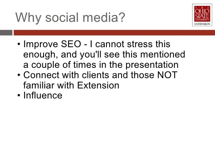<ul><li>Improve SEO - I cannot stress this enough, and you'll see this mentioned a couple of times in the presentation </l...