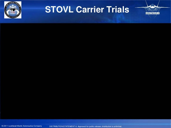 STOVL Carrier Trials© 2011 Lockheed Martin Aeronautics Company    DISTRIBUTION STATEMENT A. Approved for public release; d...