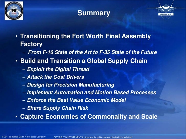 Summary             • Transitioning the Fort Worth Final Assembly               Factory                   –     From F-16 ...