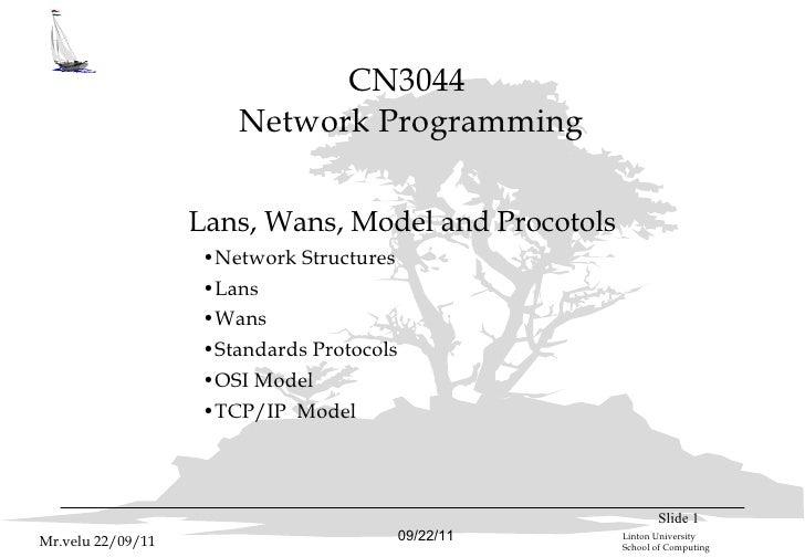CN3044  Network Programming <ul><li>Lans, Wans, Model and Procotols </li></ul><ul><ul><ul><li>Network Structures </li></ul...