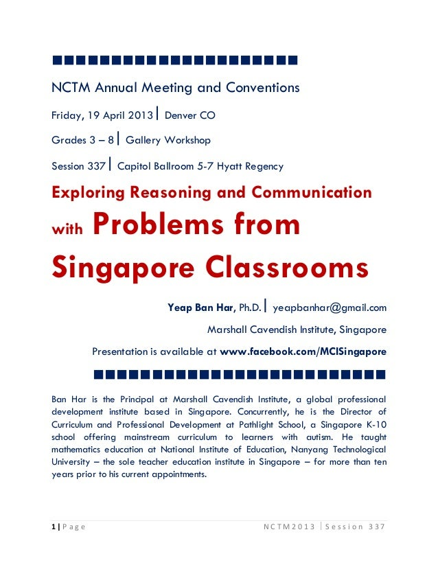 NCTM Annual Meeting and ConventionsFriday, 19 April 2013  Denver COGrades 3 – 8  Gallery WorkshopSe...