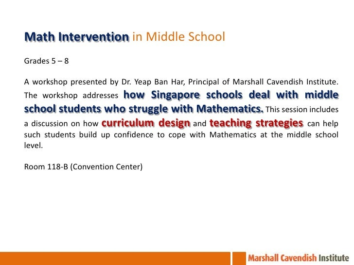 Nctm Math Intervention In The Middle School Using Singapore Math