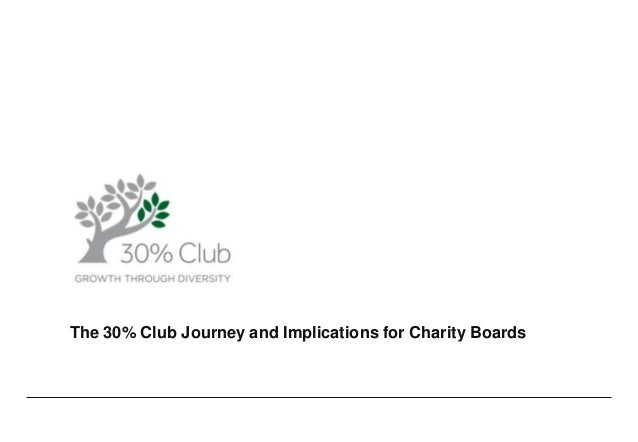 The 30% Club Journey and Implications for Charity Boards