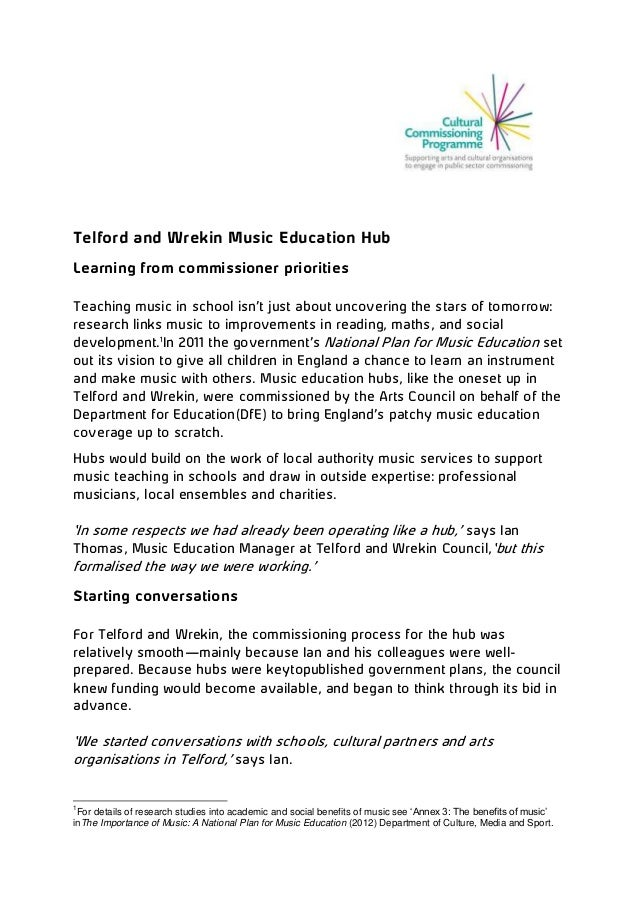Telford and Wrekin Music Education Hub Learning from commissioner priorities Teaching music in school isn't just about unc...