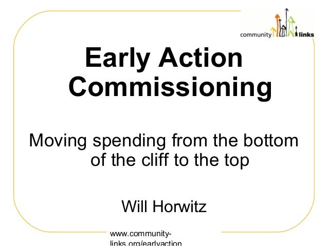 www.community- Early Action Commissioning Moving spending from the bottom of the cliff to the top Will Horwitz