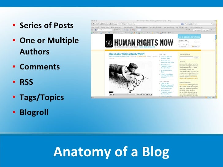    Series of Posts    One or Multiple     Authors    Comments    RSS    Tags/Topics    Blogroll                   An...