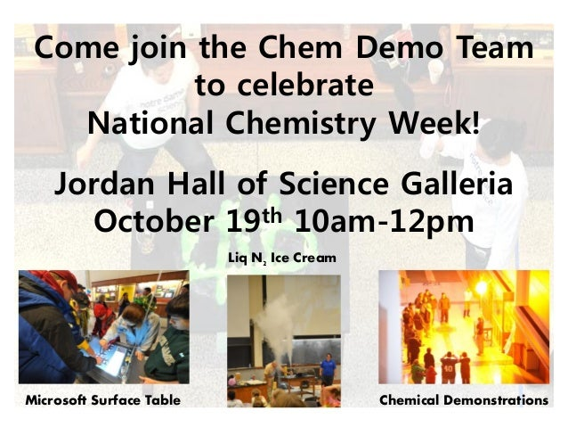 Come join the Chem Demo Team to celebrate National Chemistry Week! Jordan Hall of Science Galleria October 19th 10am-12pm ...