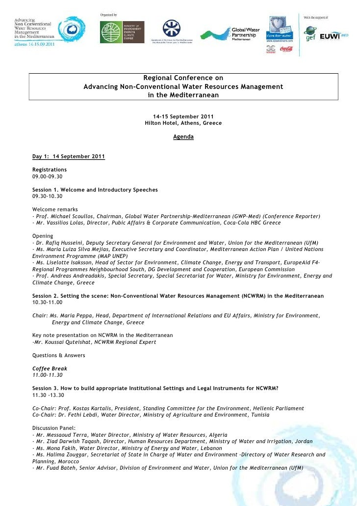 Regional Conference on                   Advancing Non-Conventional Water Resources Management                            ...