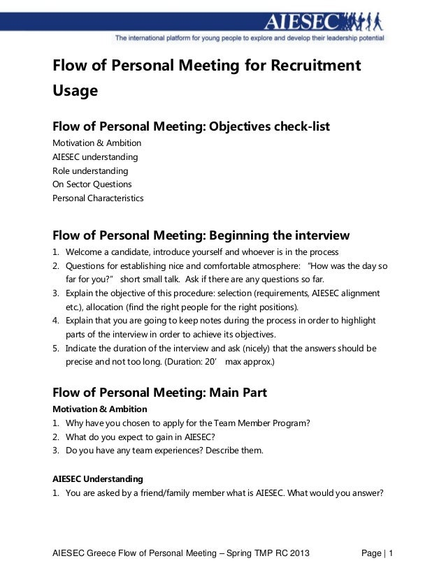AIESEC Greece Flow of Personal Meeting – Spring TMP RC 2013 Page | 1 Flow of Personal Meeting for Recruitment Usage Flow o...